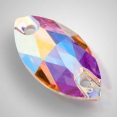 Пришивные стразы Preciosa Crystal AB 12х6мм и 18Х9мм