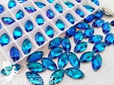 Стеклянные стразы Blue Zircon Crystal Unite 7х15мм и 9х18мм